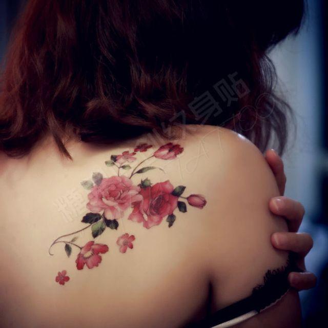 Tatouage temporaire, romantique rouge rose, femmes étanche autocollants de tatouage, retour fleur de tatouage