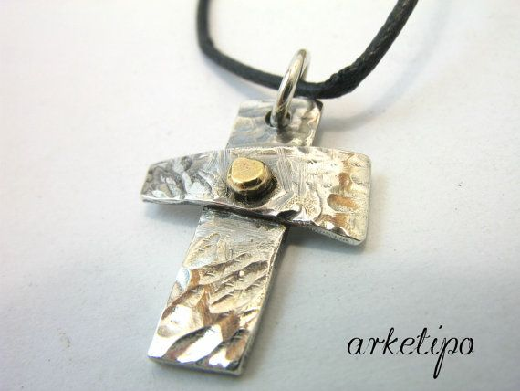 Handmade hammered sterling silver Cross Necklace with black cord , Men's / Women's Cross pendant (unisex)