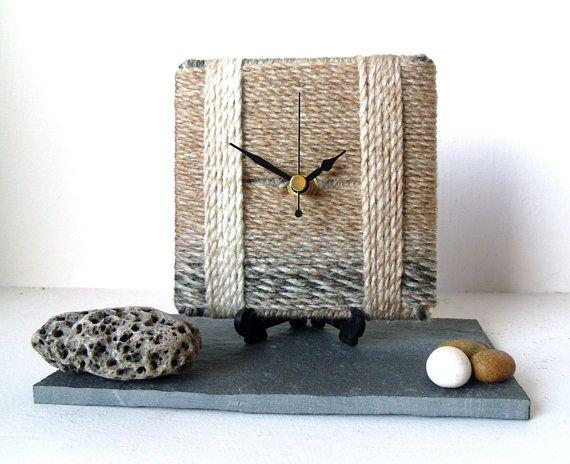 Marbled Chunky Wool Desk Clock / Small Wall Clock by NaturalClocks, £10.00