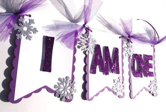 I Am One Highchair Banner Winter Themed Purple by ScrapsToRemember