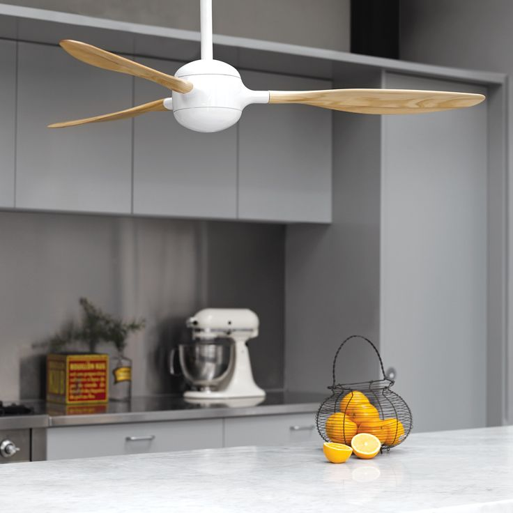 Woody 132cm Fan Only in White with Ash Blades