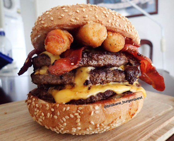Okay I've decided I'm only going to eat burgers that have mozzarella sticks on them from now on  .  This is the 'Getta BBC' the weekly special from @gettaburger .  3x200g beef patties (I added one as I'm a FF) .  Bacon .  Mozzarella sticks .  Triple sliced cheese .  Cream cheese .  Pickles .  Onion .  That BBQ sauce .  Up there with the Getta Filthy Cheese as the best thing to come out of Getta Burger. Do yourself a favour and get one before it's gone!  #gettaburger #brisbaneburgerquest #BBC...