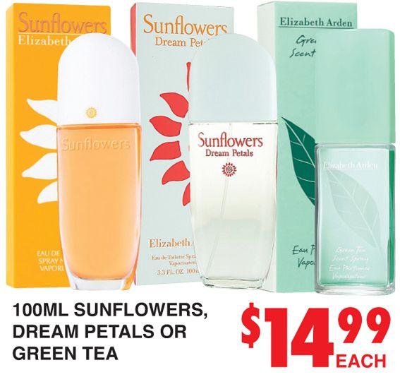 Perfume Sunflowers, Dream Petals or Green Tea http://dimmeys.com.au