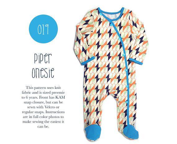 019 Piper Footed Bodysuit Onesie PDF Sewing Pattern Baby Kid Knit ...
