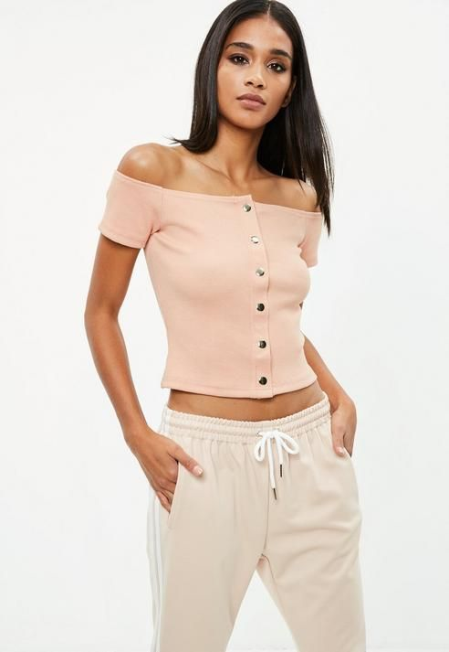 Nude Popper Bardot Crop Top | Style | Clothing | Cute Unique Top #Sponsored