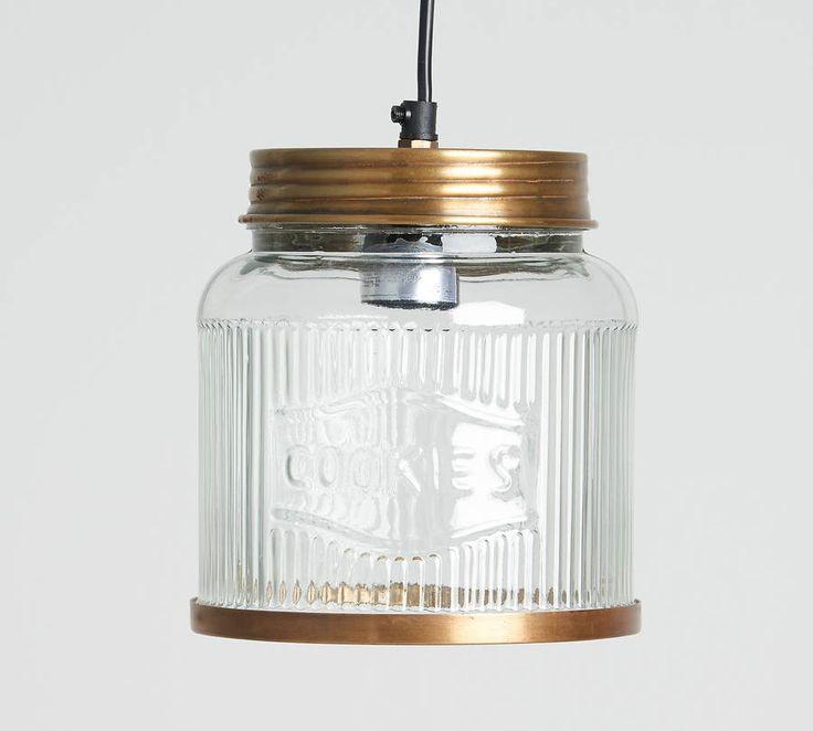 glass cookie jar pendant light