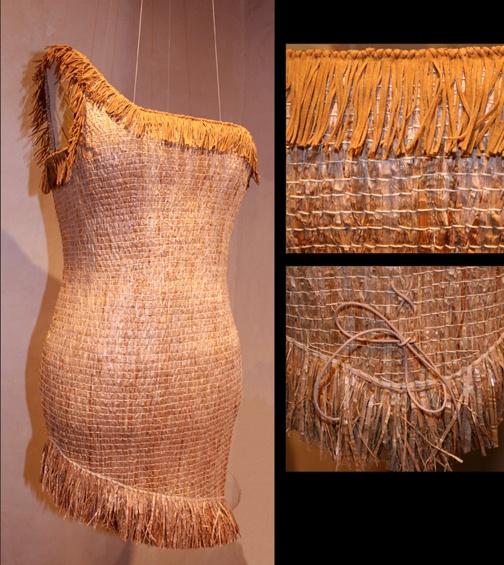 """""""POCHA HAIDA DRESS""""  Lisa Telford  Pounded red cedar bark, cordage, faux leather fringe  35"""" x 13 1/2"""" x 12"""" (Size 6)  $8,400"""