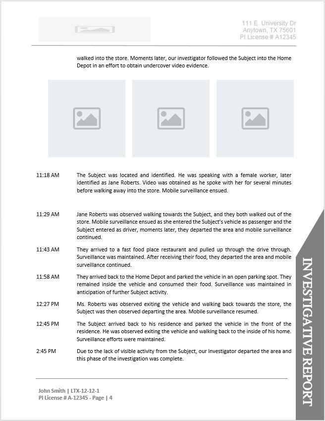 Private Investigator Surveillance Report Template 7 Templates Example Templates Example In 2021 Report Template Templates Private Investigator