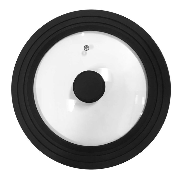 """Elite Cuisine ESG-100 Universal Silicon/Glass Lid For 9"""" to 11"""" Pots and Pans Black"""