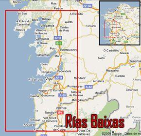 Mapa Rias Baixas Hoteles
