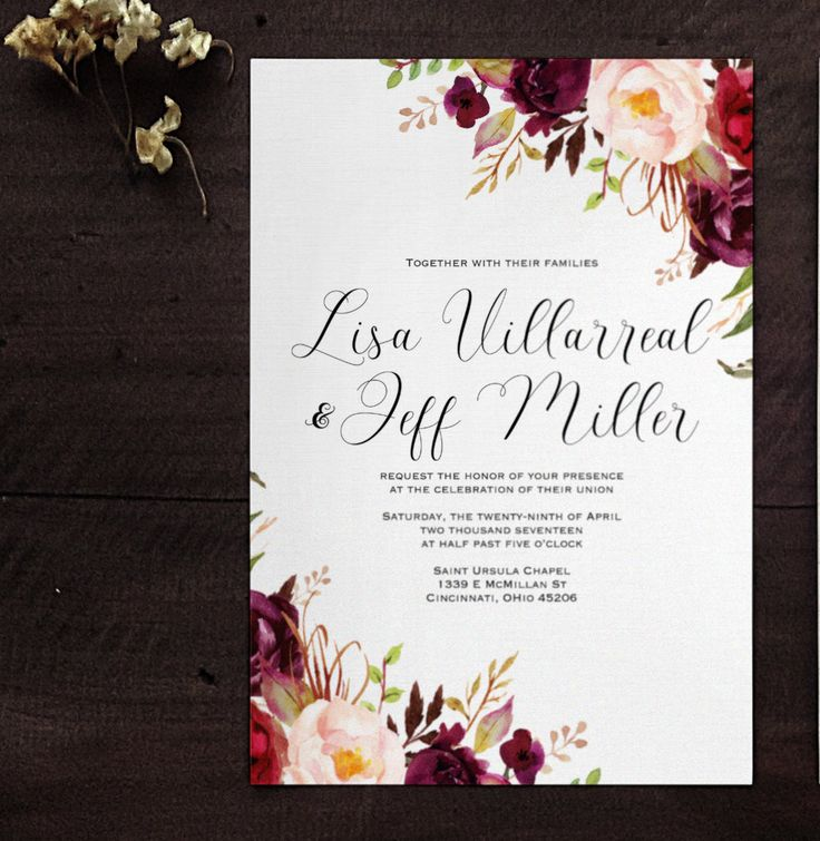 Marsala wine floral wedding invitation blush wedding for Minimalist floral wedding invitations