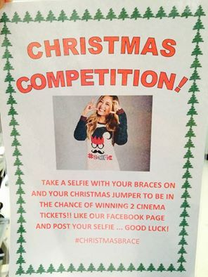 Why not take part in our latest Christmas competition for your chance of winning two cinema tickets?! Just take a selfie with your braces with something festive and share it to our Facebook page to be entered! The winner will be announced on Facebook at the beginning of January so keep an eye on our page!