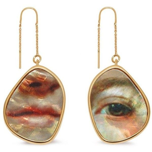 Mulberry Portrait Earrings (4.500.565 IDR) ❤ liked on Polyvore featuring jewelry, earrings, mother of pearl earrings, earring jewelry, vintage jewellery, vintage earrings and vintage mother of pearl jewelry