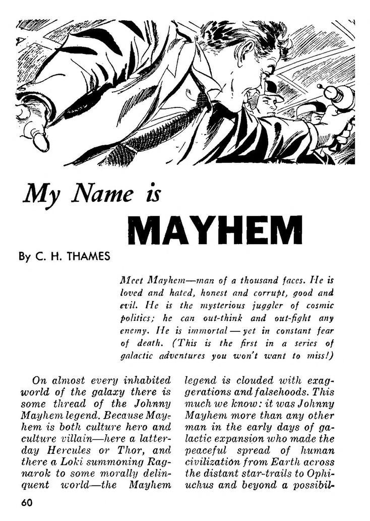 Jm 1 Unknown Artist My Name Is Mayhem By C H Thames Milton Lesser Amazing Stories 55 09 P 60 Amazing Stories Good And Evil Names