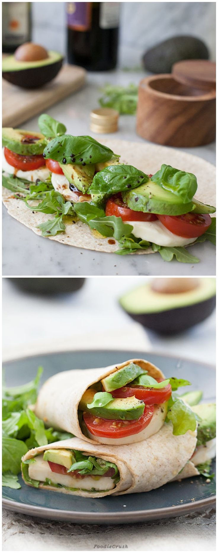 Avocado Caprese Wrap from Foodie Crush - though I'd slenderize this a bit with smaller portions of cheese and avocado, more basil and tomato.