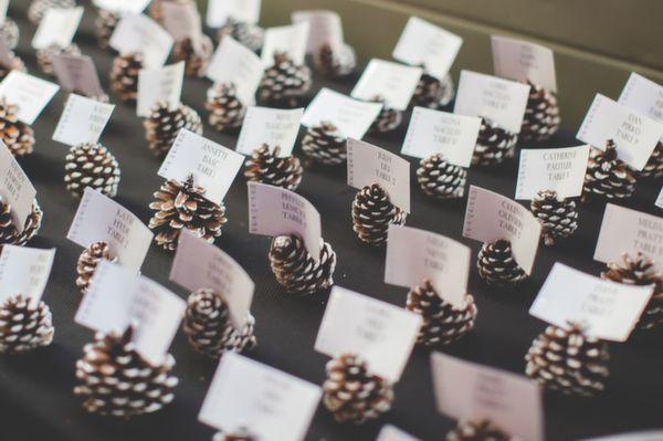 winter wedding escort card holder, photo by 3Photography http://ruffledblog.com/toronto-winter-wedding #escortcards #seatingchart #wedding