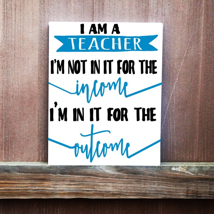 Teacher Sign, We Don't Do It For The Income We Do It for The Outcome Hand Painted Canvas, Teacher Gift, Teachers Appreciation, Teacher Art by LittleDoodleDesign on Etsy