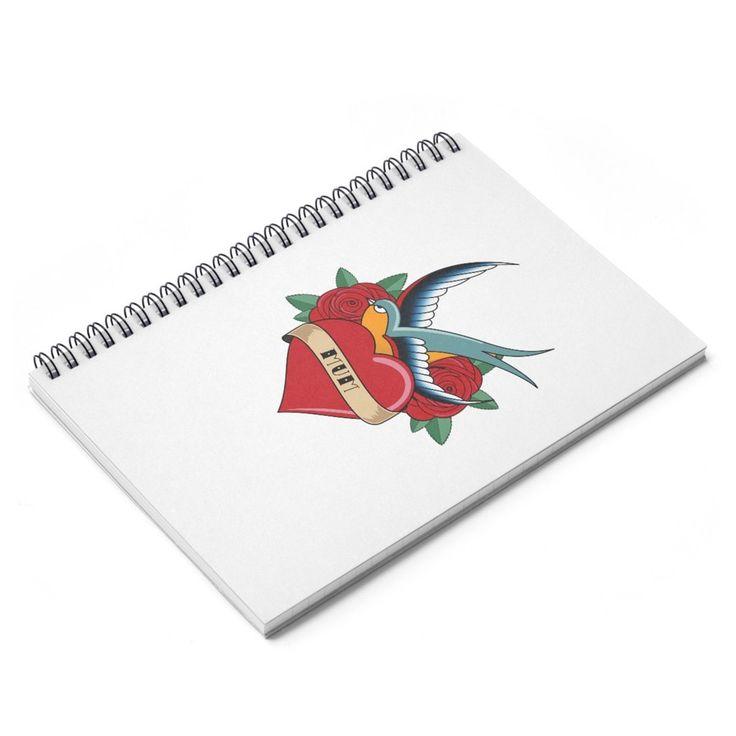 Mum Tattoo Spiral Notebook - White (Ruled Line)
