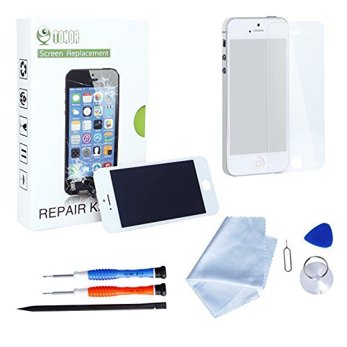 Tonor iPhone 5s LCD Display Bildschirm Ersatz Touchscreen Front Glas Ersatzteile-Set Werkzeugset inklusive Digitizer-Professionell Reparatur-Flussdiagramm Wei�