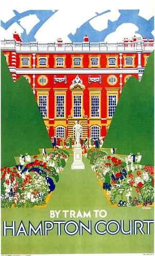 Hampton Court Palace gardens travel poster for London Transport 1927