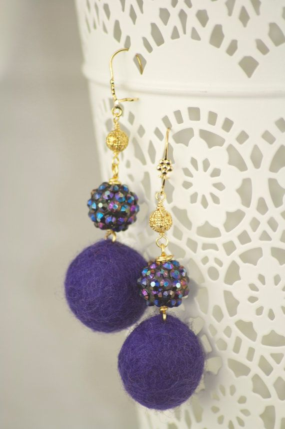 deep purple wool felt pom-pom earrings with glass knitted purple iridescent ball & 14k gold plated filigree.