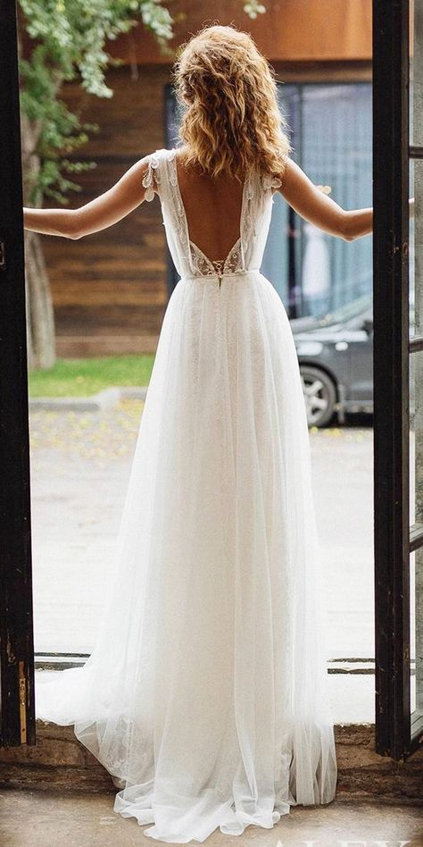 Self-Conscious Ivory Long A-line Lace Chiffon Beach Modest Wedding Dresses With Half Sleeves Beaded V Neck Informal Reception Bridal Gowns Attractive Appearance Weddings & Events