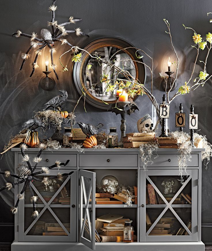 go spooky chic with skulls and large decorative spiders for your home this halloween homedecorators chic halloween decorhalloween table