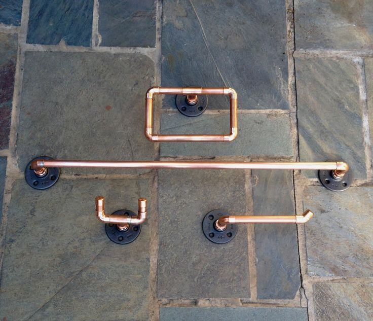Industrial Bathroom Accessories, Set 4 PC, Copper Pipe Towel Bar, Robe Hook, Toilet Paper Holder, Hand Towel Ring, Steampunk, Man Cave Bath by MacAndLexie on Etsy https://www.etsy.com/listing/178744188/industrial-bathroom-accessories-set-4-pc