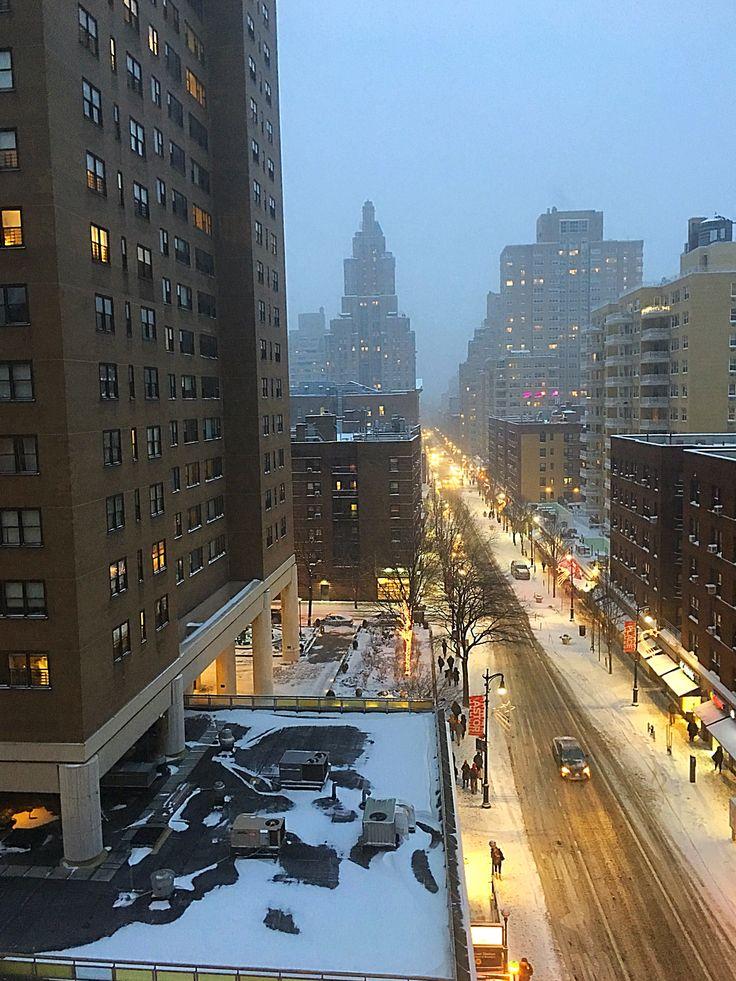 Snowy night, 8th street NYC