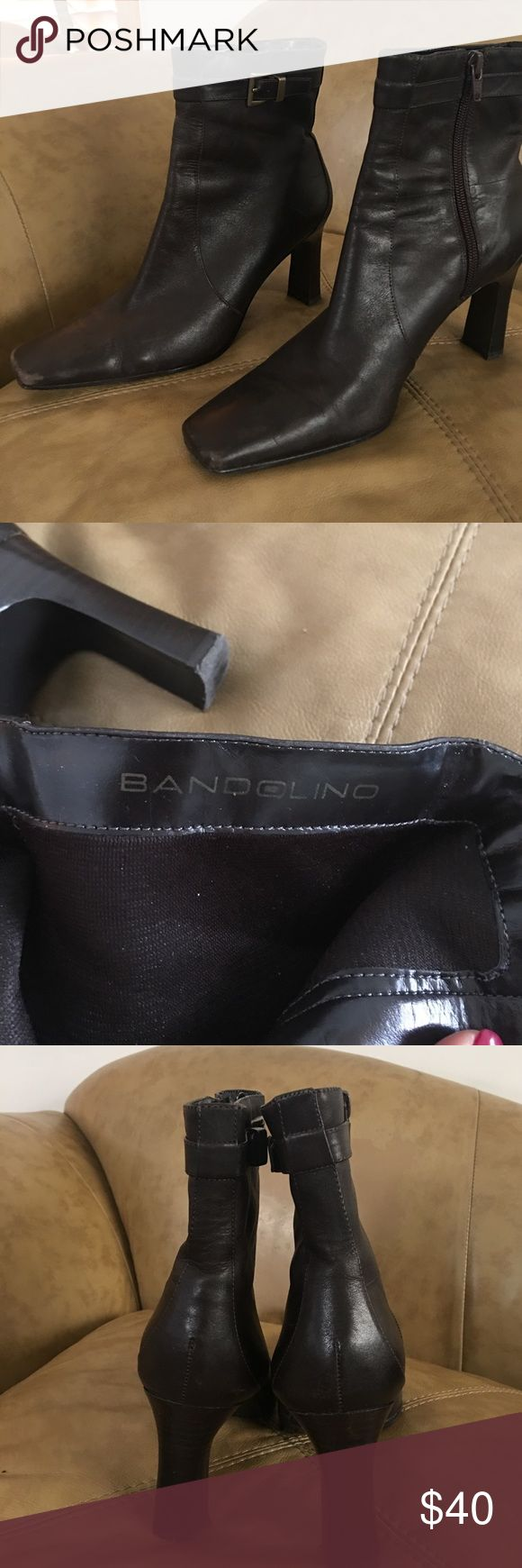 BANDOLINO BOOTS BANDOLINO Dark brown dress boot.  Gold Buckle top, sturdy heel.   Worn max 3 times!! Very new & comfortable! Bandolino Shoes Heeled Boots