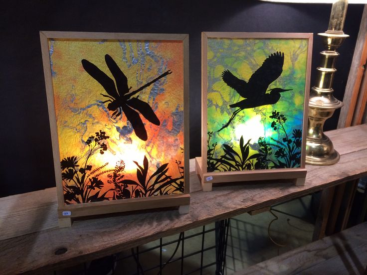 Illuminated panels with animal silhouettes by Janie Struif, Innerlight Lamps