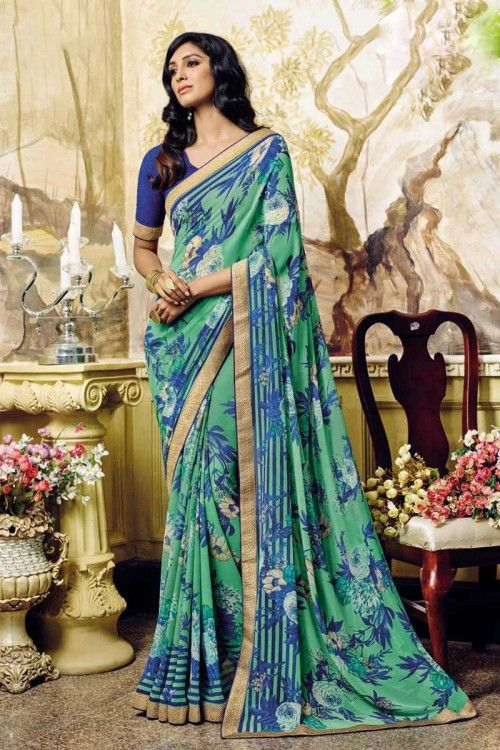 Green Georgette Saree with georgette Blouse Online   http://www.andaazfashion.co.uk/womens/sarees