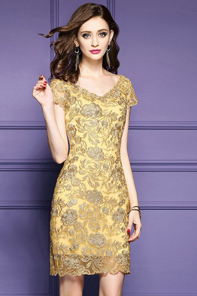 Only 168 99 Tail Dresses Luxury Gold Embroidery Sheath Party Dress For Wedding Guest Unique Zl8055 At Gemgrace