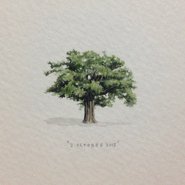 """""""Day 274 : A big old oak tree for the lovely and very talented Callen Jefferson, on her birthday. 29 x 29 mm. #365paintingsforants #miniature #watercolor…"""""""