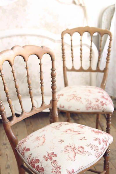 ナポレオンチェア椅子 フランス アンティーク トワルドジュイ 天使 薔薇 エンジェル ローズ