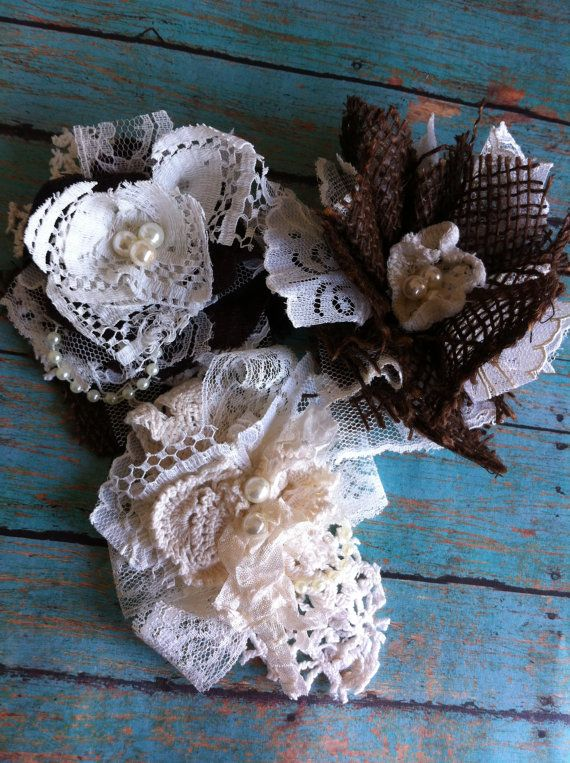 Set of 3/ Burlap and Lace/ Rustic Wedding Decorations/ Farmhouse Chic Decor/ Lampshade Embellishment/ Magnetic Flowers/ Mason Jar Decor on Etsy, $15.00