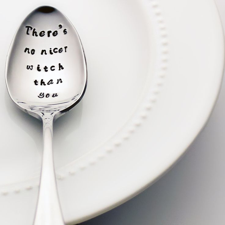 Frank Sinatra: There's No Nicer Witch Than You - Stamped Spoon, Stamped Silverware - Fun Birthday Gift for Her. Frank Sinatra's Witchcraft lyrics adorn this sweet stainless steel teaspoon! This spoon is a novelty item made with non-toxic ink. You can safely use this piece as everyday silverware but please note that daily use can wear the ink over time. If you choose to use your novelty spoon then it is suggested that you wash it in a dishwasher to avoid abrasive hand scrubbing. Because…