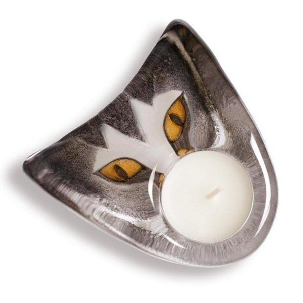 Cat Delight Crystal Candle Holder Brown/Grey Color by Mats Jonasson