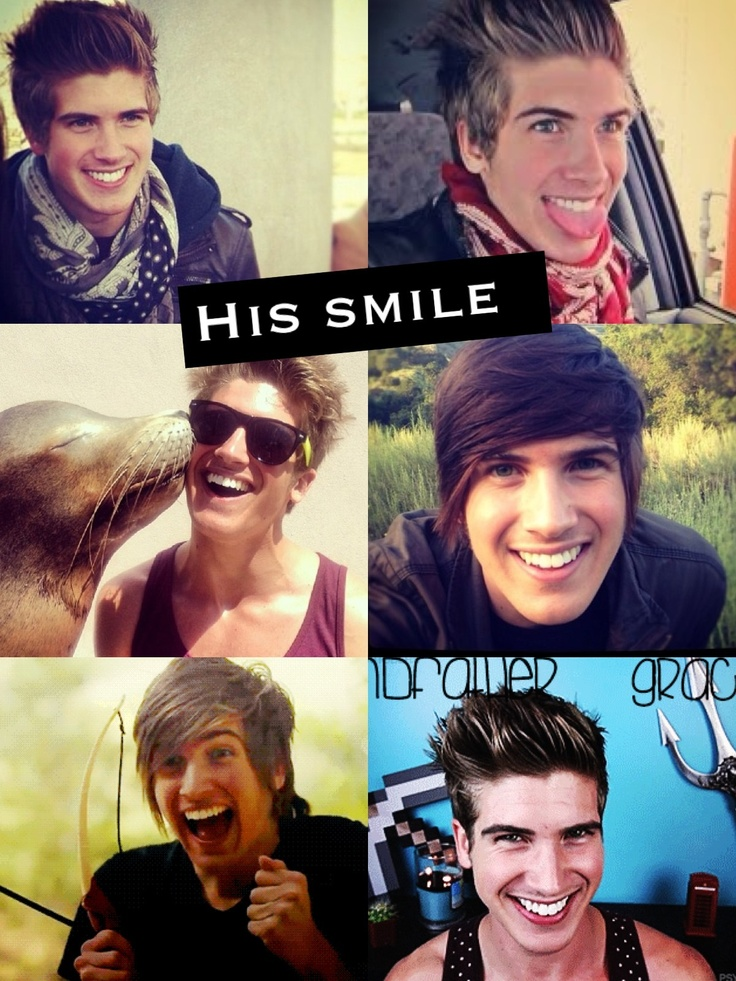 This is honestly my favorite thing about Joey Graceffa. Yeah, hes hot, hilarious, hot, and has an AMAZING laugh, but his smile is just so real. He is such a happy and smiley person. Its awesome.