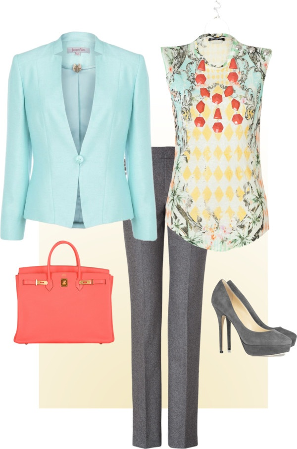 "Really like the colours! ""Spring Day Work Outfit"" by boopie101 ❤ liked on Polyvore- love the blouse & jacket."