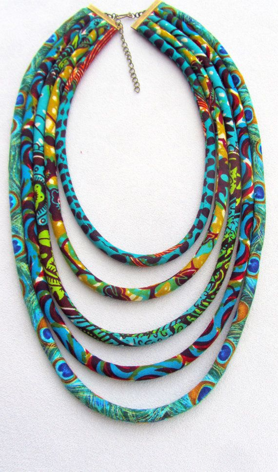 Collier turquoise, collier de tissu africain, collier africain impression, Bohème, collier Tribal, collier de déclaration,