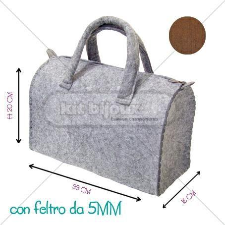 BORSA A BAULETTO 33X16X20H CM FELTRO 5MM TABACCO - BORSE E BORSETTINE -