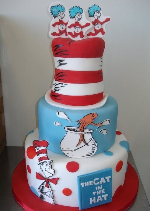 Amy Beck Cake Design - Chicago, IL - Thing 1, Thing 2 and Thing 3 Cat in the Hat birthday cake - #amybeckcakedesign