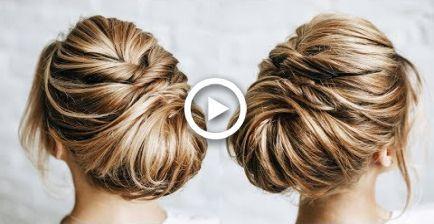 Short hair messy bun   Short bob hairstyles #Bob #Bun #hair #hairstyles #Messy