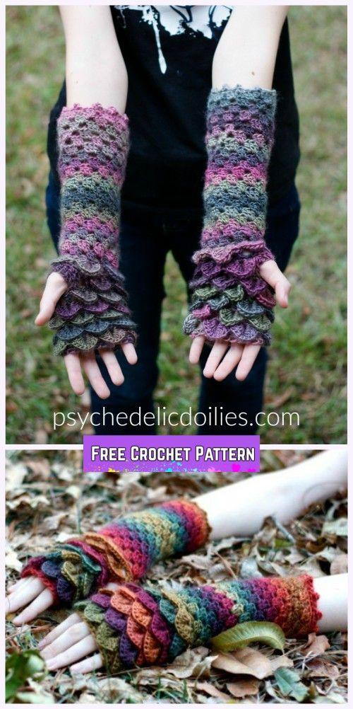Crochet Dragon Scale Gloves Free Pattern