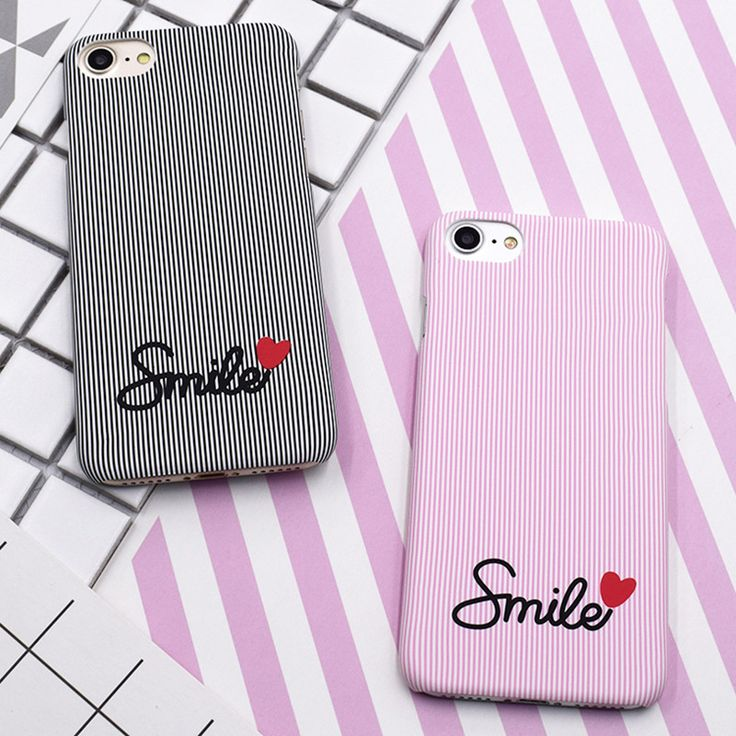 Cute Candy Pink Blue Black Stripes Couple Phone Case For iphone 7 Case For iphone 7 Plus 6 6S Cartoon Smiley Hard Back Cover