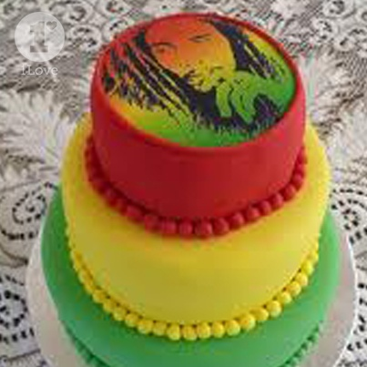Love the layered Rasta look for this Earthday cake #CelebrateBobMarley