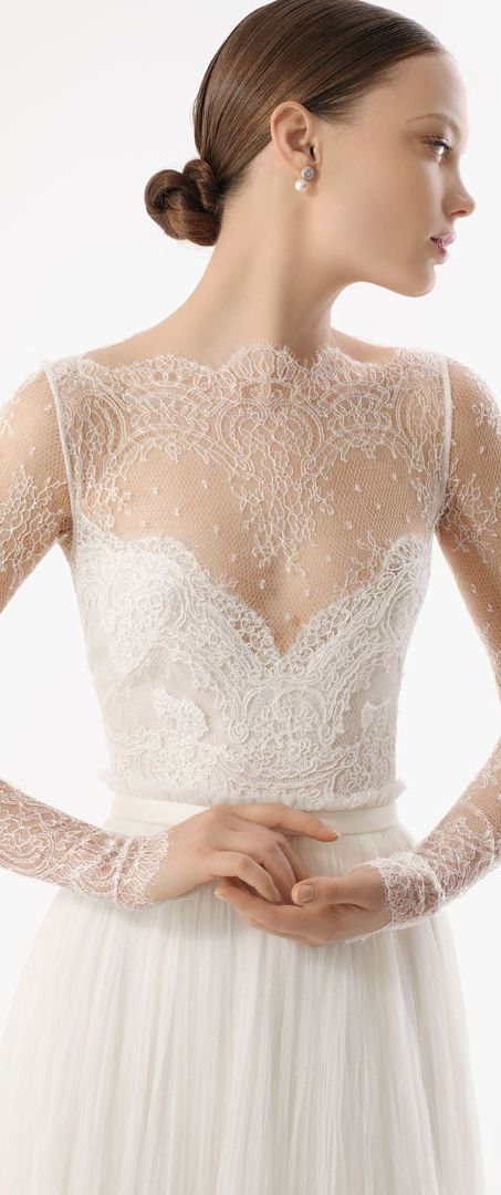 chantilly lace Wedding Dress with  Long Sleeve ARMILLA