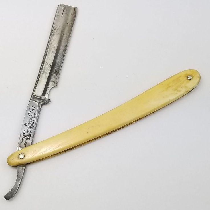 Vintage Wester Bros Brothers Anchor Brand German Straight Edge Razor Manganese Steel Blade Shaving Barber #Anchor