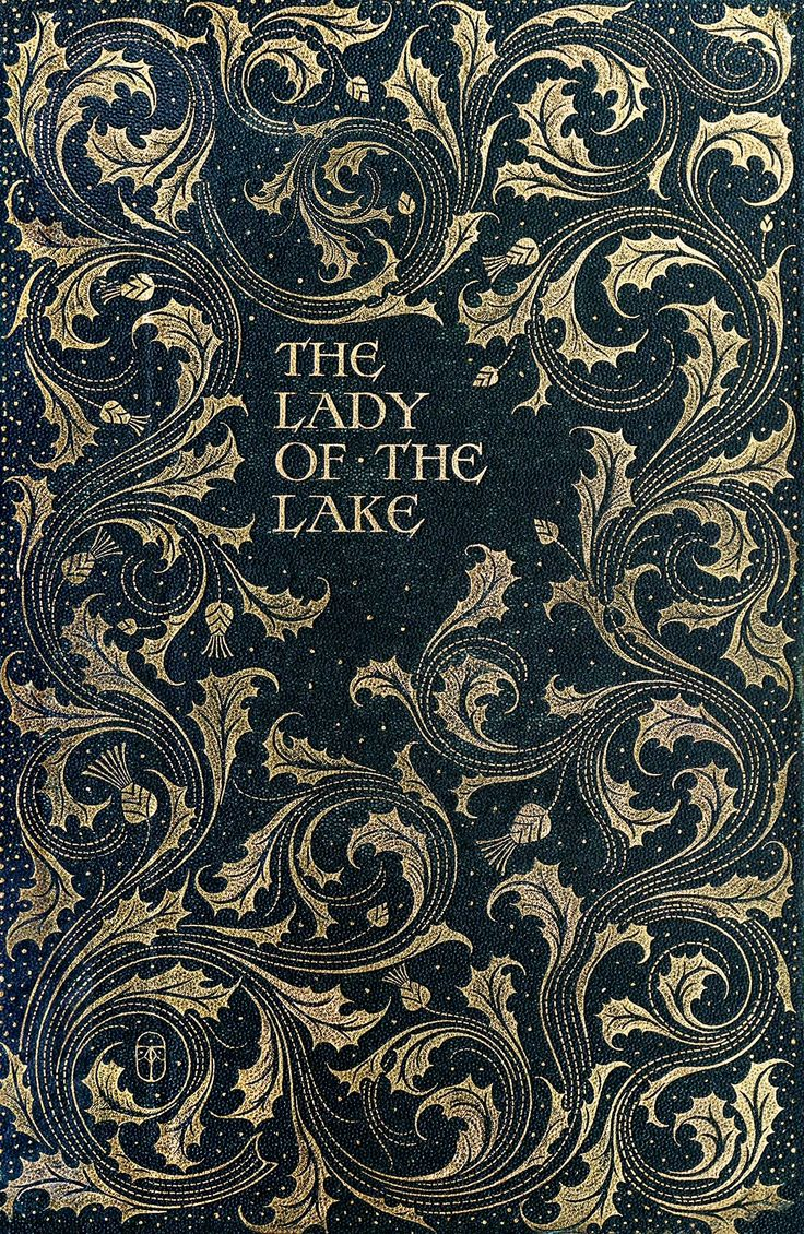 Front cover from The lady of the lake, by Walter Scott, illustrated by Charles Edmund Brock. London, 1904.  (Source: archive.org)